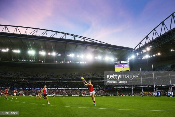 A general view is seen during the AFLX match between Essendon Bombers and StKilda Saints at Etihad Stadium on February 16 2018 in Melbourne Australia