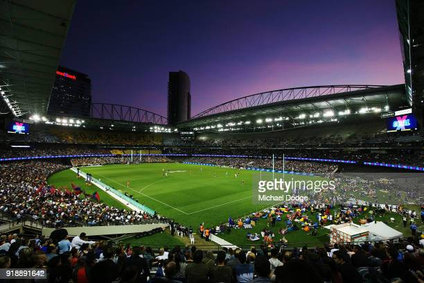 A general view is seen during the AFLX match between North Melbourne and Melbourne Demons at Etihad Stadium on February 16 2018 in Melbourne Australia