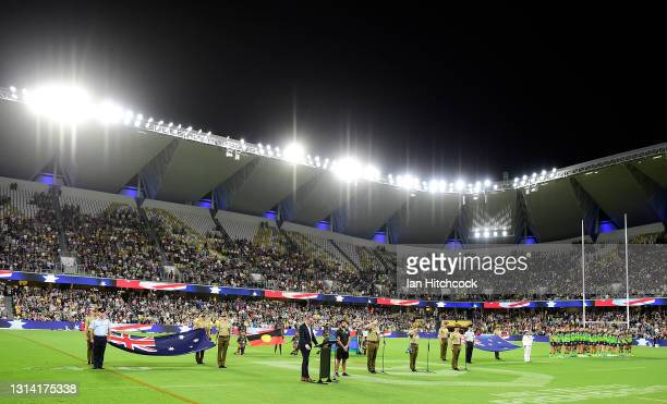 General view is seen during the ANZAC Day commemorations before the start of the round seven NRL match between the North Queensland Cowboys and the...