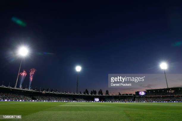 A general view is seen during the Big Bash League match between the Hobart Hurricanes and the Perth Scorchers at UTAS Stadium on December 30 2018 in...