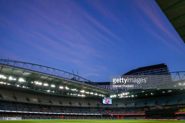 General view is seen during the Big Bash League match between the Melbourne Renegades and the Sydney Sixers at Marvel Stadium on January 02, 2020 in...