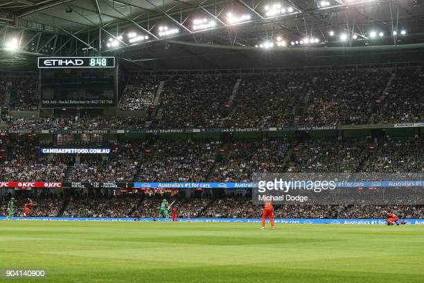 A general view is seen during the Big Bash League match between the Melbourne Renegades and the Melbourne Stars at Etihad Stadium on January 12 2018...