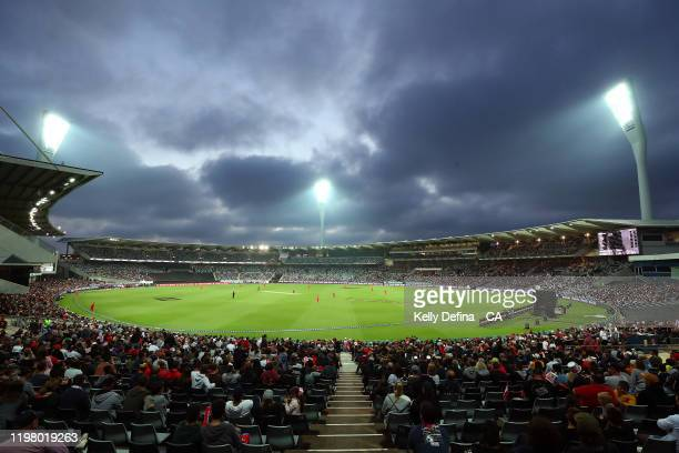 General view is seen during the Big Bash League T20 match between the Melbourne Renegades and the Perth Scorchers at GMHBA Stadium on January 07,...