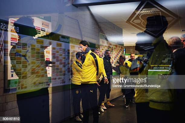 A general view is seen during the Bundesliga match between Borussia Moenchengladbach and Borussia Dortmund at BorussiaPark on January 23 2016 in...