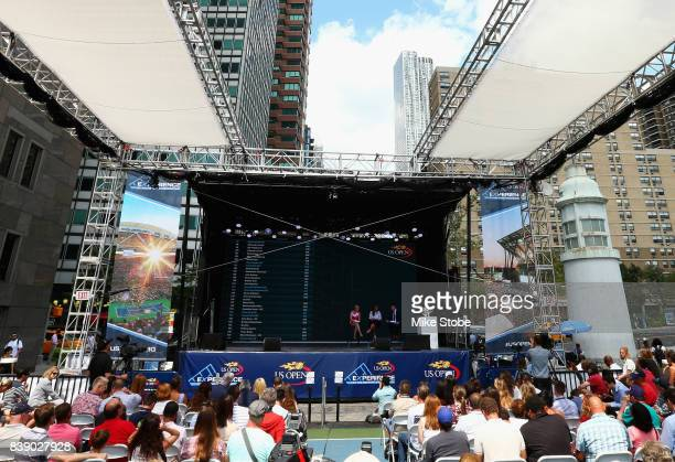 A general view is seen during the Draw Ceremony prior to the start of the 2017 US Open at the South Street Seaport on August 25 2017 in New York City