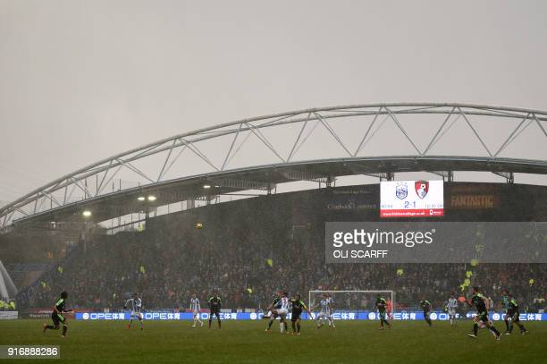 A general view is seen during the English Premier League football match between Huddersfield Town and Bournemouth at the John Smith's stadium in...