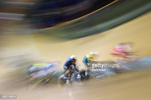 General view is seen during the men's 40km points race quaifying round at Sir Chris Hoy Velodrome during day three of the Glasgow 2014 Commonwealth...