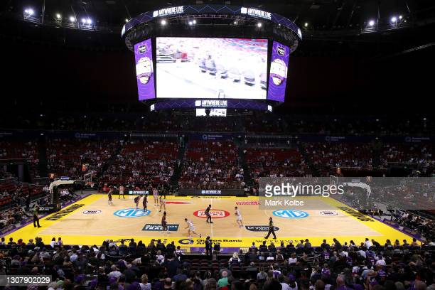 General view is seen during the NBL match between the Sydney Kings and Melbourne United at Qudos Bank Arena on March 19 in Sydney, Australia.