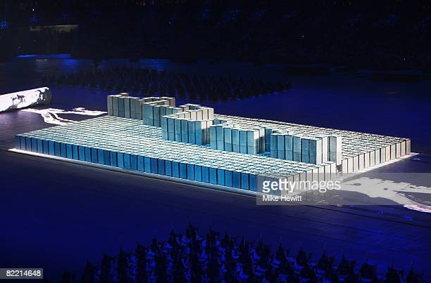A general view is seen during the Opening Ceremony for the 2008 Beijing Summer Olympics at the National Stadium on August 8 2008 in Beijing China