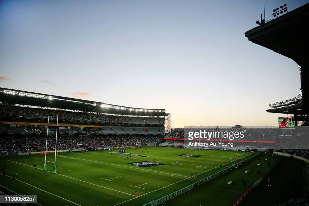 A general view is seen during the round 1 Super Rugby match between the Blues and the Crusaders at Eden Park on February 16 2019 in Auckland New...
