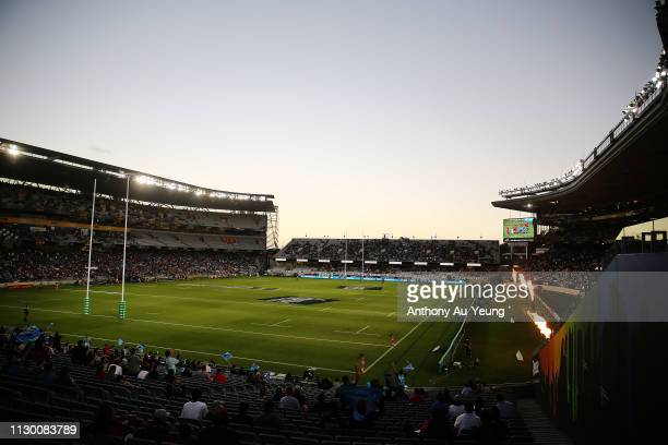 General view is seen during the round 1 Super Rugby match between the Blues and the Crusaders at Eden Park on February 16, 2019 in Auckland, New...