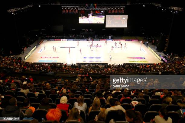 A general view is seen during the round 10 Super Netball match between the Giants and the Swifts at the International Convention Centre on July 8...