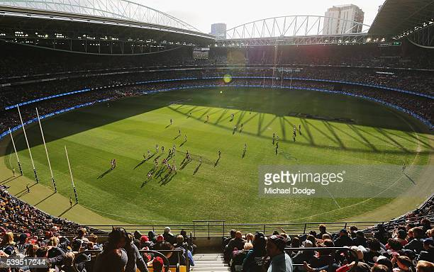 A general view is seen during the round 12 AFL match between the St Kilda Saints and the Carlton Blues at Etihad Stadium on June 12 2016 in Melbourne...