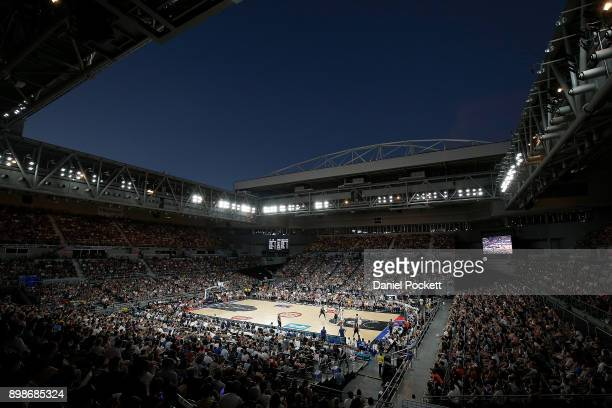 A general view is seen during the round 12 NBL match between Melbourne United and the Brisbane Bullets at Hisense Arena on December 26 2017 in...