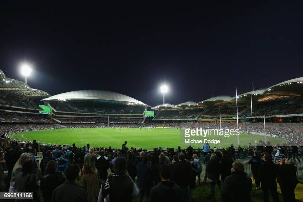 A general view is seen during the round 13 AFL match between the Port Adelaide Power and the Brisbane Lions at Adelaide Oval on June 17 2017 in...