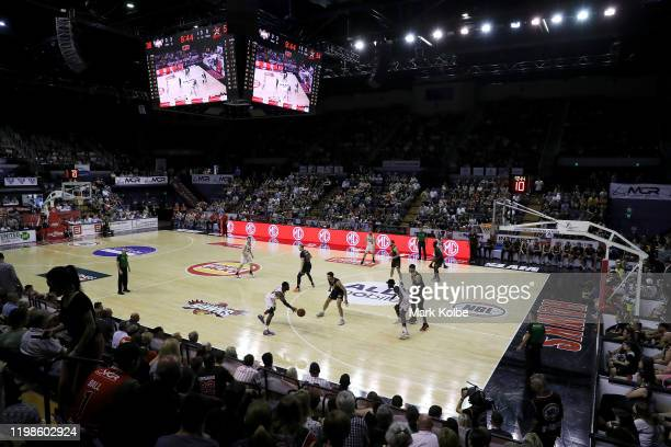 General view is seen during the round 15 NBL match between the Illawarra Hawks and the Perth Wildcats at the WIN Entertainment Centre on January 10,...