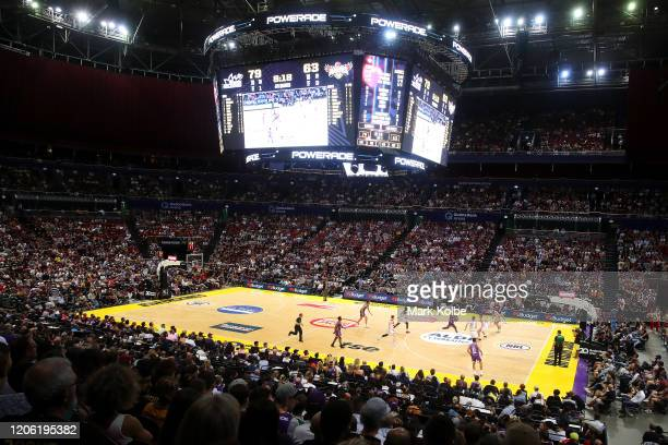 General view is seen during the round 20 NBL match between the Sydney Kings and the Illawarra Hawks at Qudos Bank Arena on February 14, 2020 in...