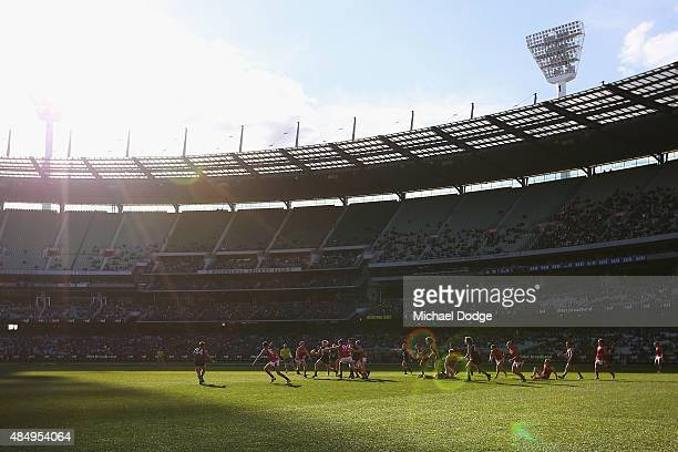 A general view is seen during the round 21 AFL match between the Carlton Blues and the Melbourne Demons at Melbourne Cricket Ground on August 23 2015...