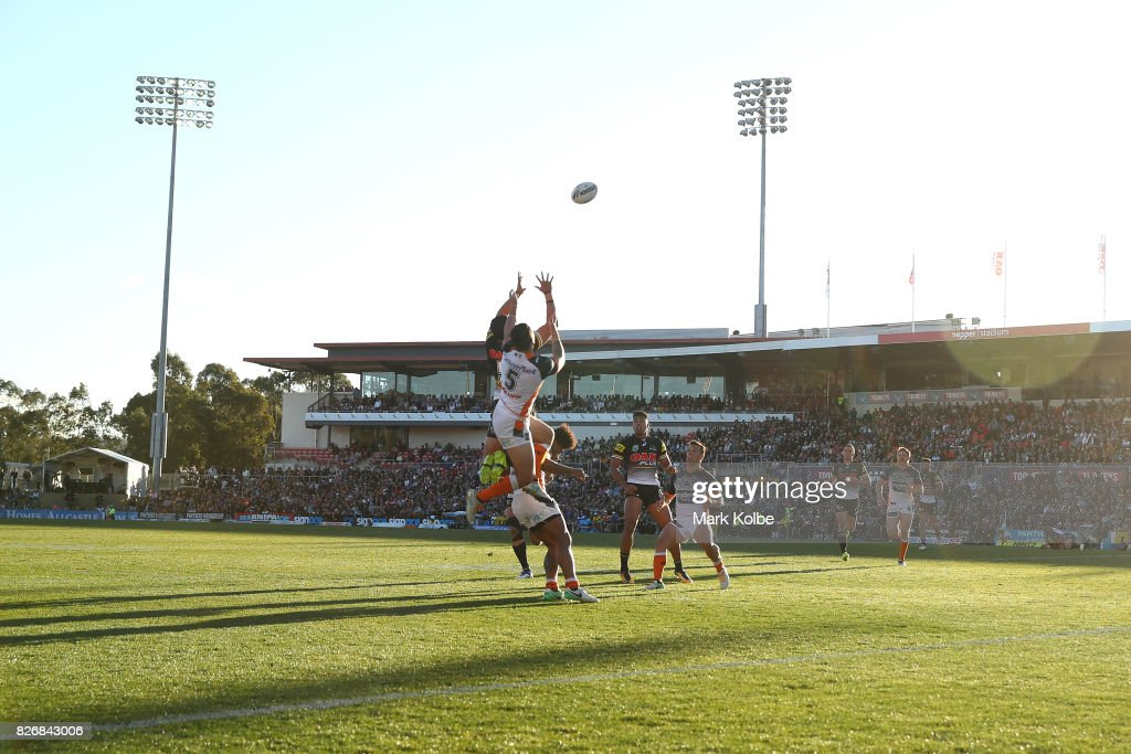 A general view is seen during the round 22 NRL match between the Penrith Panthers and the Wests Tigers at Pepper Stadium on August 6, 2017 in Sydney, Australia.