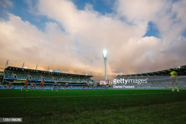 General view is seen during the round 5 AFL match between the Geelong Cats and the Gold Coast Suns at GMHBA Stadium on July 04, 2020 in Geelong,...
