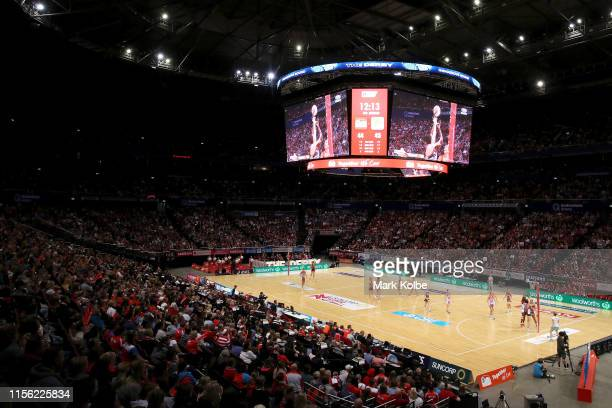 General view is seen during the round 8 Super Netball match between the Swifts and the Giants at Qudos Bank Arena on June 16, 2019 in Sydney,...