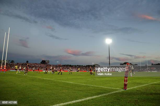 A general view is seen during the round four NRL match between the St George Illawarra Dragons and the New Zealand Warriors at UOW Jubilee Oval on...