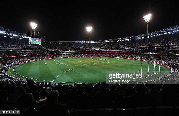 A general view is seen during the round one AFL match between the Carlton Blues and the Richmond Tigers at Melbourne Cricket Ground on April 2 2015...