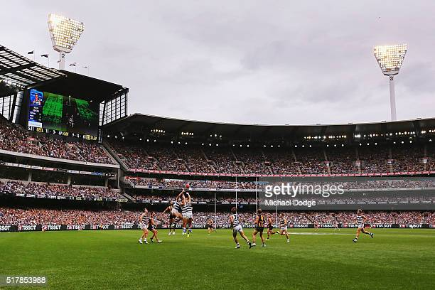 A general view is seen during the round one AFL match between the Geelong Cats and the Hawthorn Hawks at Melbourne Cricket Ground on March 28 2016 in...