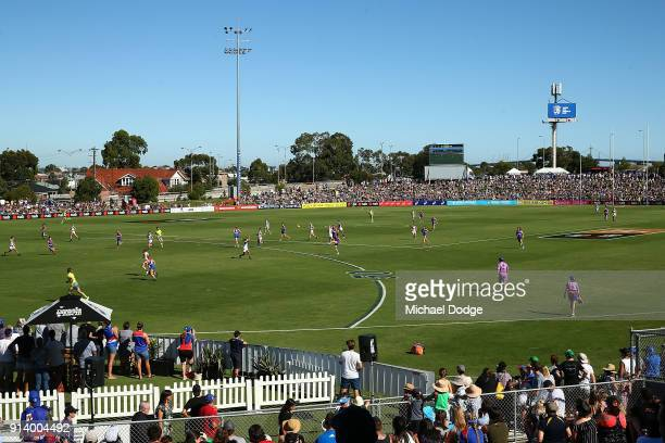General view is seen during the round one AFLW match between the Western Bulldogs and the Fremantle Dockers at Whitten Oval on February 4, 2018 in...