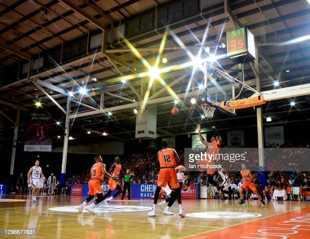 General view is seen during the round one NBL match between the Cairns Taipans and the Sydney Kings at Cairns Pop Up Arena on January 16 2021, in...