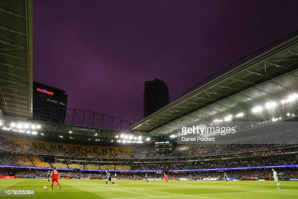 A general view is seen during the round seven ALeague match between Melbourne Victory and Adelaide United at Marvel Stadium on December 08 2018 in...