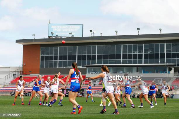 General view is seen during the round six AFLW match between the Western Bulldogs and the Fremantle Dockers at Whitten Oval on March 15, 2020 in...