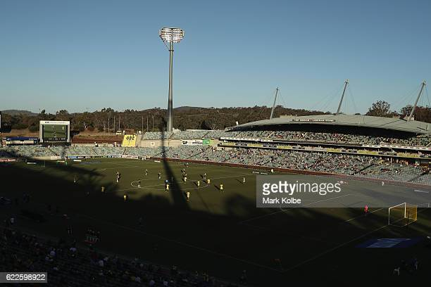 A general view is seen during the round six ALeague match between the Central Coast Mariners and the Wellington Phoenix at GIO Stadium on November 12...