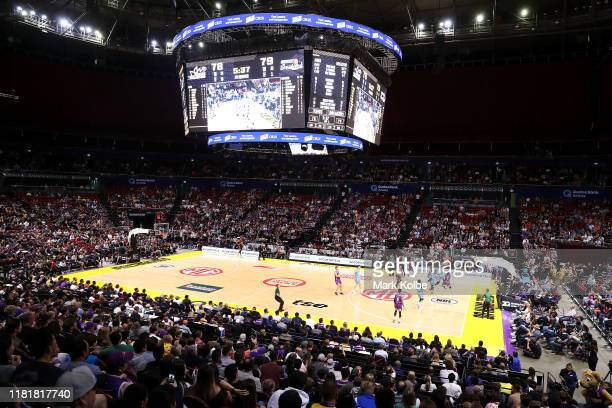 General view is seen during the round three NBL match between the Sydney Kings and the New Zealand Breakers at Qudos Bank Arena on October 18, 2019...