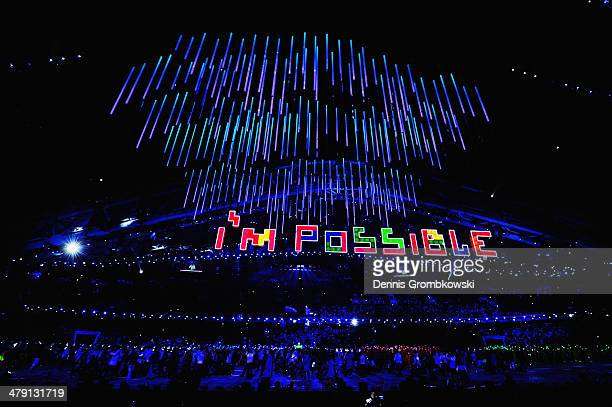 A general view is seen during the Sochi 2014 Paralympic Winter Games Closing Ceremony at Fisht Olympic Stadium on March 16 2014 in Sochi Russia