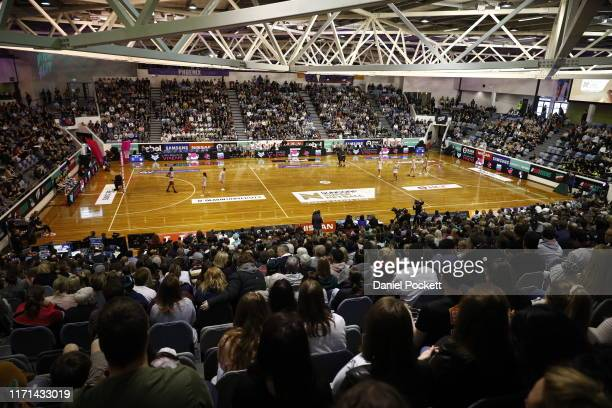 General view is seen during the Super Netball Minor Semi Final match between the Melbourne Vixens and the Collingwood Magpies at the State Netball...
