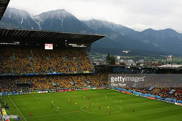 A general view is seen during the UEFA EURO 2008 Group D match between Sweden and Spain at Stadion Tivoli Neu on June 14 2008 in Innsbruck Austria