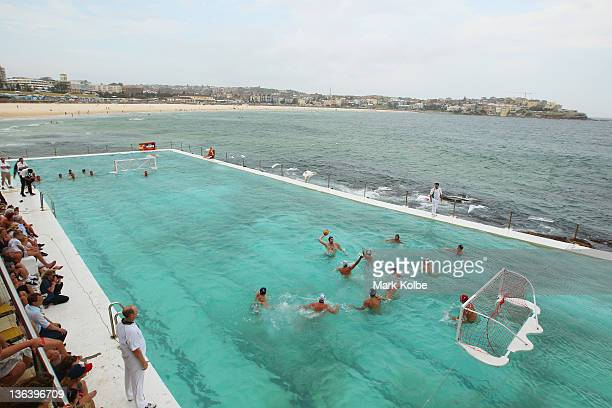 A general view is seen during the Water Polo by the Sea match between Australia and the United States of America at Bondi Icebergs pool Bondi Beach...