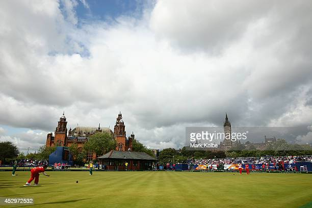 General view is seen during the women's triples semi-final match between England and Wales at Kelvingrove Lawn Bowls Centre during day eight of the...