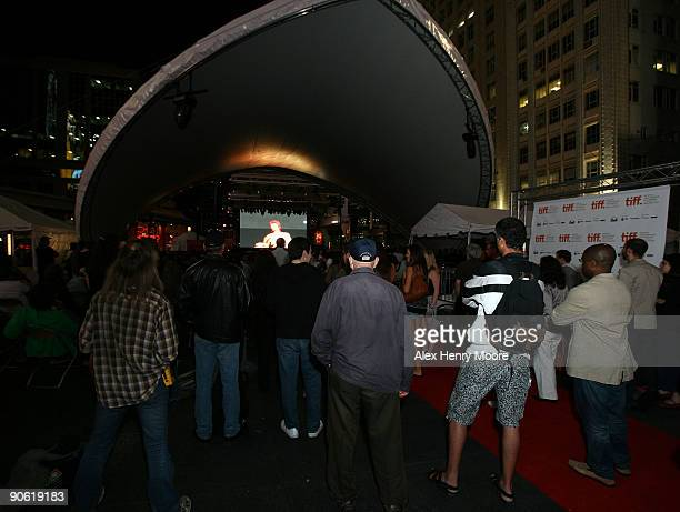A general view is seen during the Ziggy Stardust And The Spiders From Mars Screening held at Yonge Dundas Square during the 2009 Toronto...