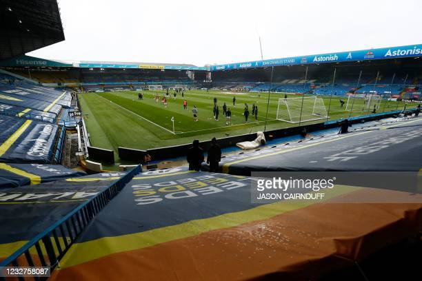 General view is seen during warm up ahead of the English Premier League football match between Leeds United and Tottenham Hotspur at Elland Road in...