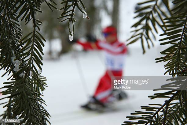 General view is seen from the men's 15km - sitting biathlon on day seven of the Sochi 2014 Paralympic Winter Games at Laura Cross-country Ski &...