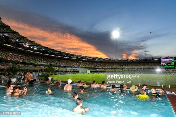 General view is seen from the pool deck during day one of the First Test match between Australia and Sri Lanka at The Gabba on January 24, 2019 in...