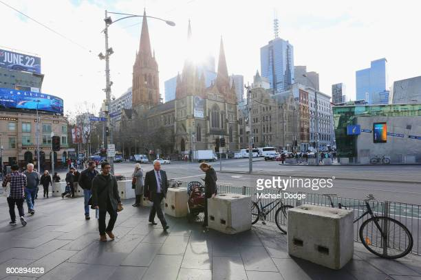 A general view is seen from the steps of Flinders street station where concrete blocks are situated on June 26 2017 in Melbourne Australia The large...