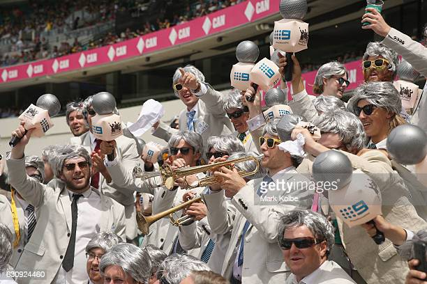 A general view is seen from within 'The Richies' a group of supporters dressed up as former Australian cricket captain and commentator Richie Benaud...