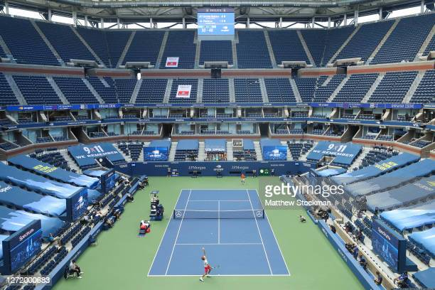 A general view is seen in Arthur Ashe Stadium as Alexander Zverev of Germany serves the ball during his Men's Singles semifinal match against Pablo...