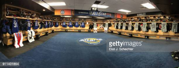 A general view is seen in the Eastern Conference locker room at Amalie Arena on January 28 2018 in Tampa Florida