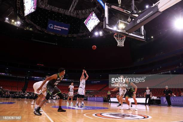 General view is seen is seen as Mason Peatling shoots from the free throw line during game two of the NBL Semi-Final Series between the South East...