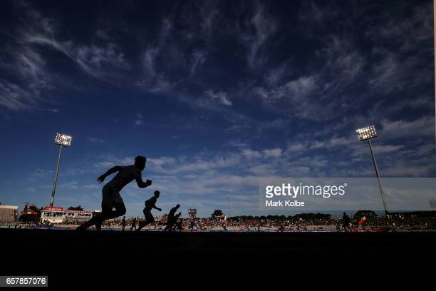 A general view is seen of a kickoff during the under 20s Holden Cup match before the round four NRL match between the St George Illawarra Dragons and...