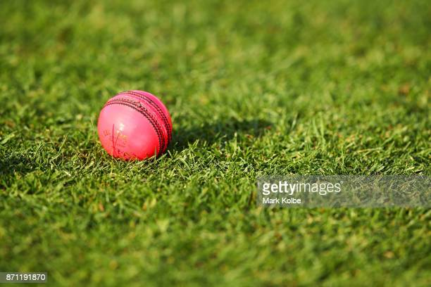 A general view is seen of a pink ball during an Australian women's Ashes series training session at North Sydney Oval on November 7 2017 in Sydney...